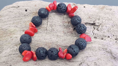Picture of Diffuser Oil Lava stone bracelet  with chips. Handmade
