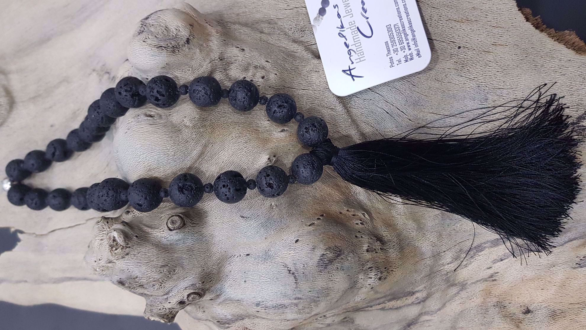 Picture of Diffuser oil Lava stone Necklace with silk tassel Handmade