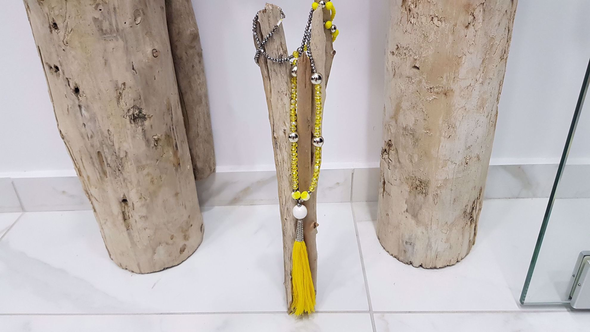 Picture of Beads Necklace with tassel Handmade Yellow