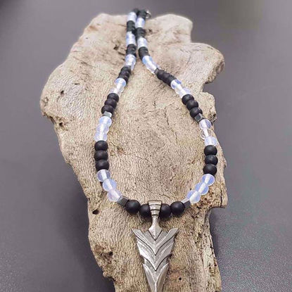 Picture of Moonstone and Black stone Necklace Handmade