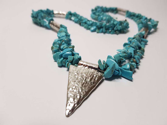 Picture of Green Chips Stone Necklace with big Silver Colored Metal Pendant . Handmade