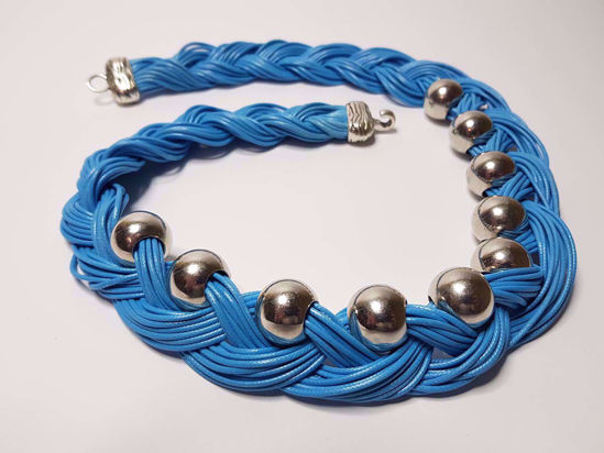 Picture of Blue Leather Stripe Necklace with big Silver Colored Beads . Handmade