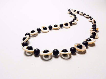Εικόνα της Woman's Necklace with Black Stone and Ivory . Handmade