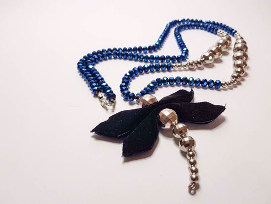 Picture of Crystal Beads with velvet Pedant  Necklace. Handmade