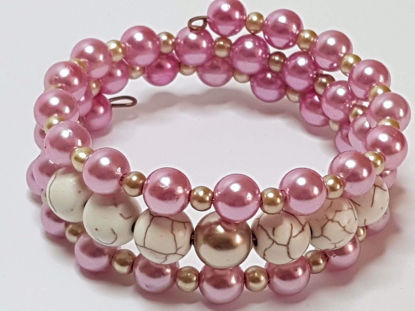 Picture of Beads and Chaolite stone Memory Bracelet . Handmade