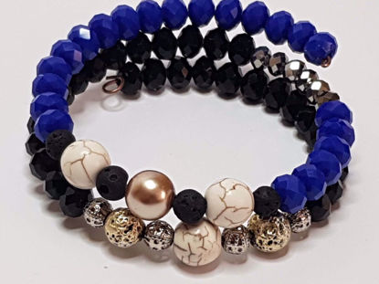 Picture of Beads Chaolite Stone and Lava Stone Memory Bracelet . Handmade