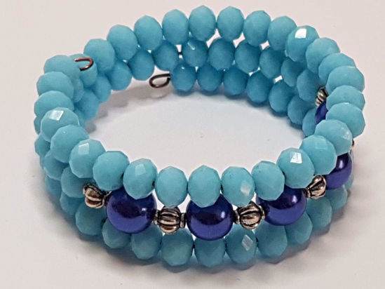 Picture of Crystal Beads Memory Bracelet Blue . Handmade