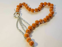 Picture of Ceramic Beads Necklace Handmade. Orange