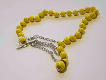 Picture of Ceramic Beads Necklace Handmade - Yellow