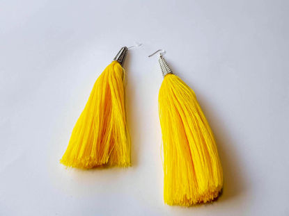 Picture of Woman's Earrings with big tassel Handmade yellow