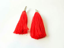Picture of Woman's Earrings with big tassel Handmade red