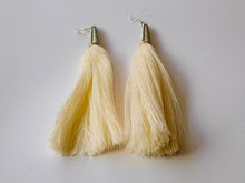 Picture of Woman's Earrings with big tassel Handmade white