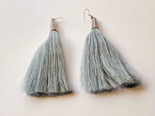 Picture of Woman's Earrings with tassel Handmade grey