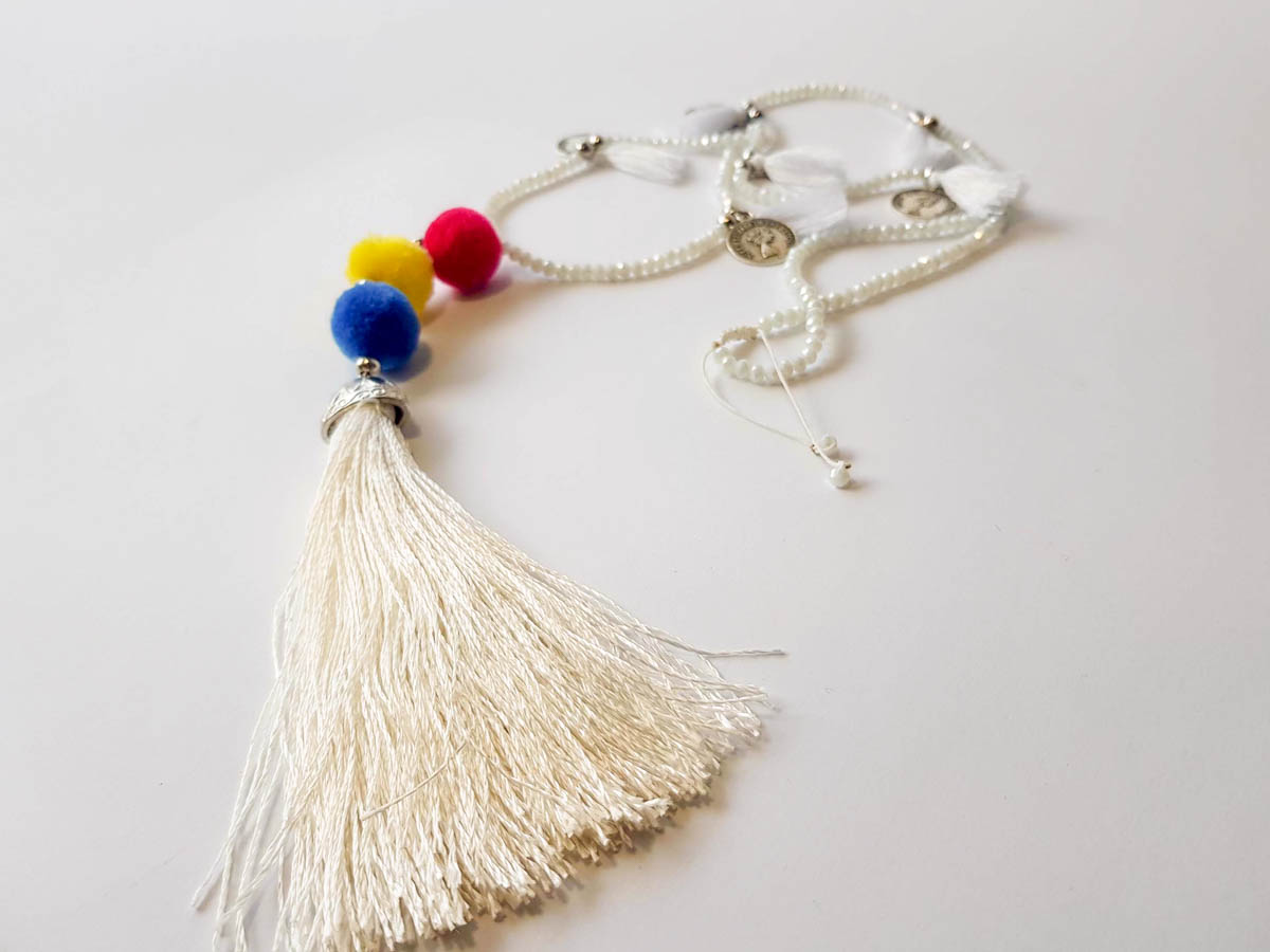 Picture of Beads Necklace with Pon Pons, small tassels, coins and big tassel ending. Handmade