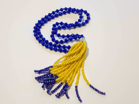 Εικόνα της Woman's Necklace with beads  and big tassel made with beads. Various colors
