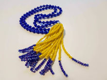 Εικόνα της Woman's Necklace with beads  and big tassel made with beads. Handmade Blue
