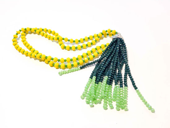 Picture of Woman's Necklace with beads  and big tassel made with beads. Handmade Yellow