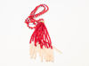 Picture of Woman's Necklace with beads  and big tassel made with beads. Handmade Red