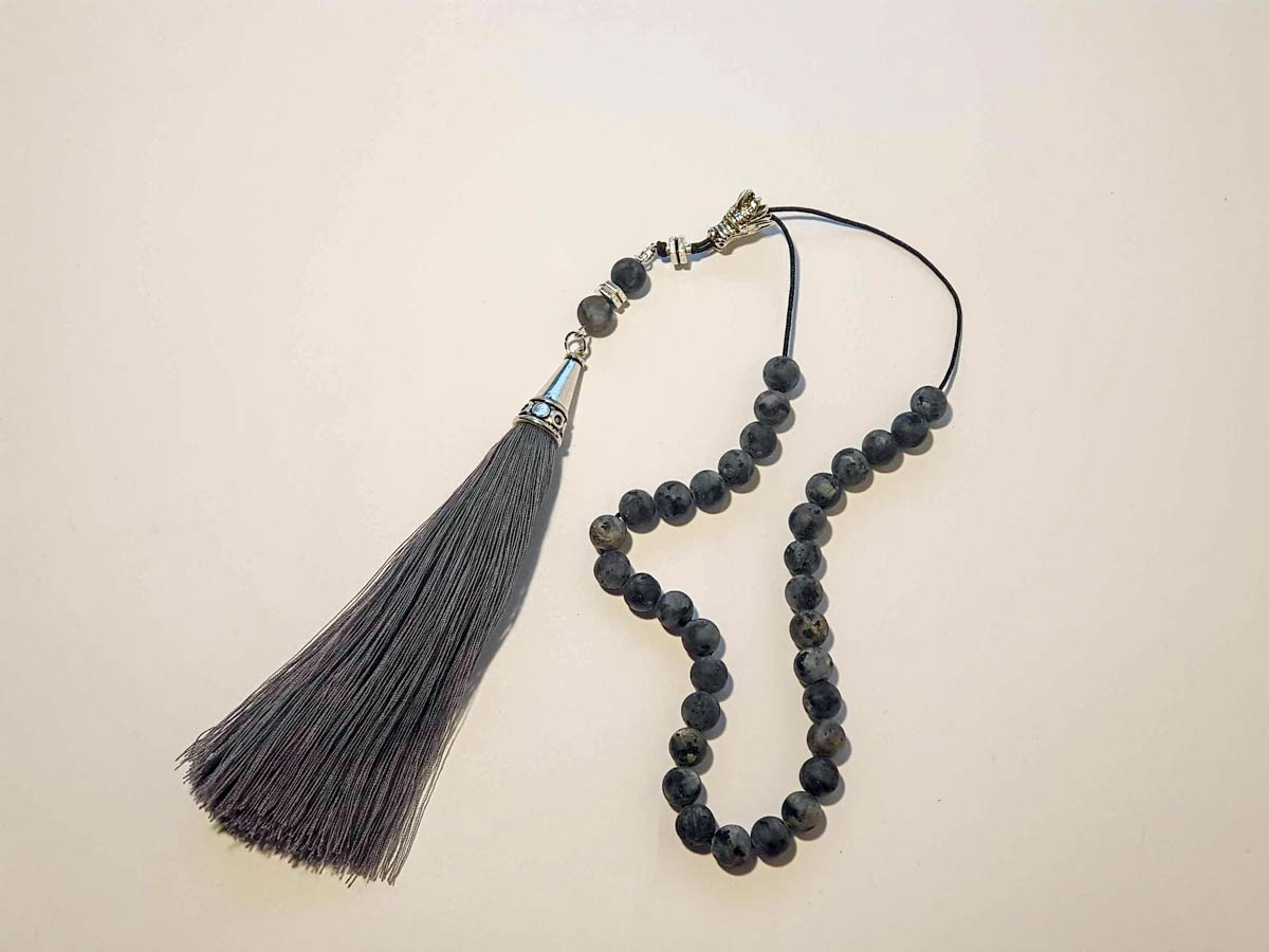 Picture of Greek Komboloi with natural stone and big tassel. Handmade