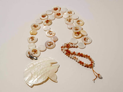 Picture of Woman's Necklace with crystal beads, ivory and big ivory fish. Handmade