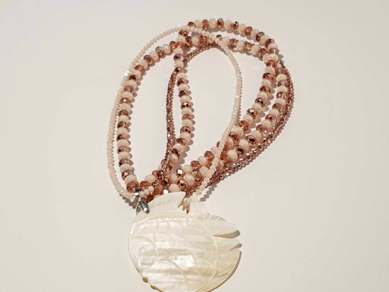 Εικόνα της Woman's Necklace with crystal beads and big ivory fish Pendant. Handmade