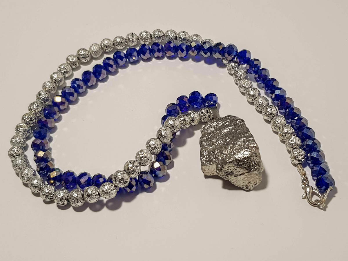 Picture of Woman's Necklace with crystal beads, lava stones , big silver rock Pendant . Handmade