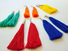 Picture of Woman's Earrings with tassel Handmade green