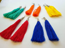 Picture of Woman's Earrings with tassel Handmade blue
