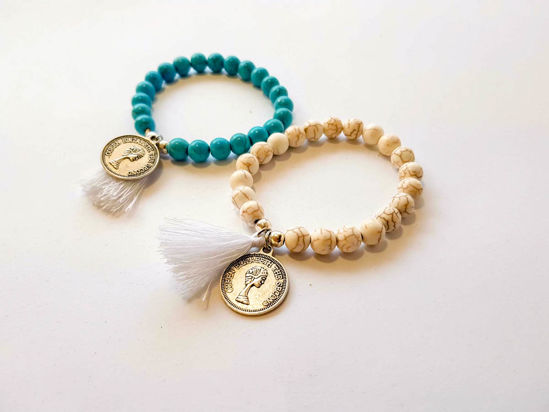Picture of Woman's Bracelet with chaolite beads, metallic coin and small tassel. Handmade Various Colors