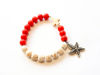 Picture of Woman's Bracelet with chaolite beads and chaolite cross and metallic starfish. Handmade Various Colors