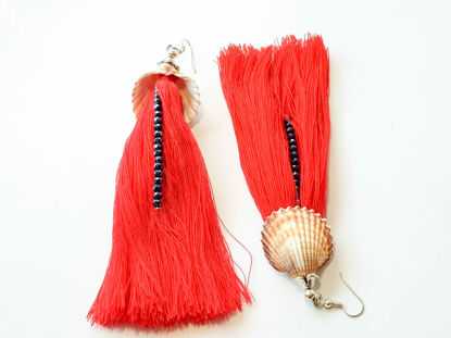Εικόνα της Woman's Earrings with natural seashell, small crystal beads and big tassel. Handmade. Various Colors
