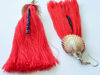 Picture of Woman's Earrings with natural seashell, small crystal beads and big tassel. Handmade. Various Colors