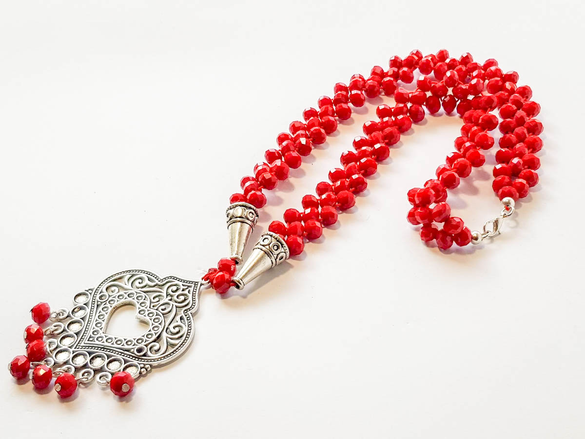 Picture of Woman's Necklace with crystal beads and metallic Pendant. Handmade. Red