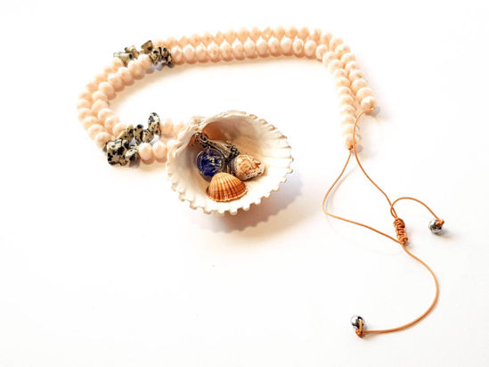 Picture of Woman's Necklace with crystal beads, Murano ball a Big natural seashell and small seashells. Handmade.