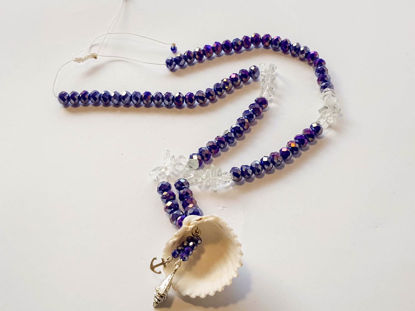 Εικόνα της Woman's Necklace with crystal beads, transparent chips, metallic elements and a big natural seashell. Handmade.