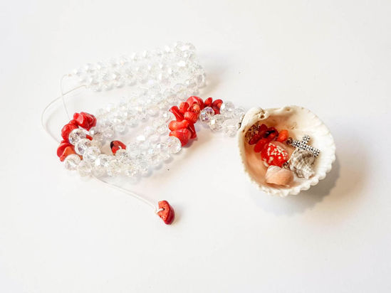 Picture of Woman's Necklace with crystal beads, chips, metallic elements and natural seashells. Handmade.