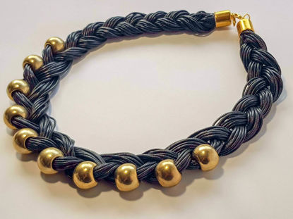 Picture of Black Leather Stripe Necklace with big Gold Colored Beads . Handmade