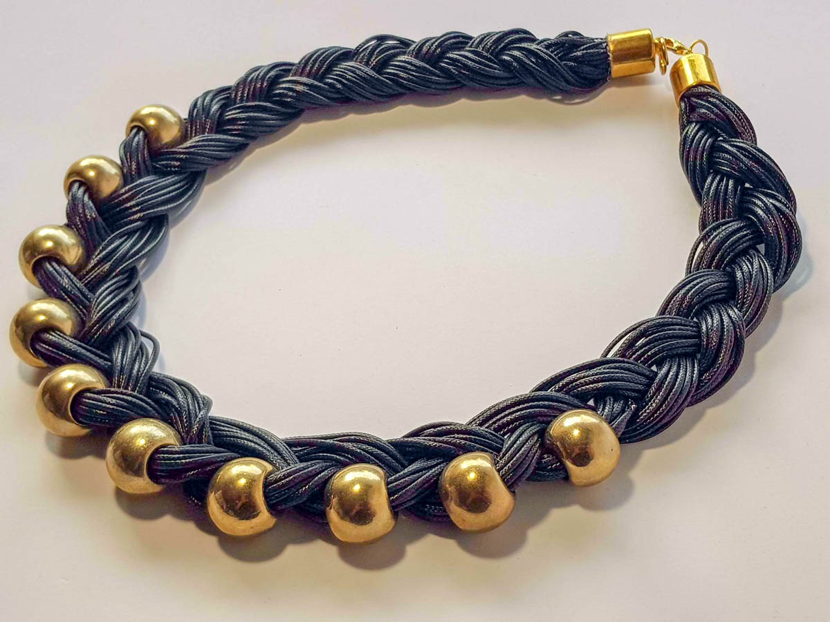 Picture of Leather Stripe Necklace with big Beads . Handmade various colors