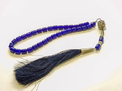 Picture of Greek Komboloi with jade stone and big silk tassel. Handmade