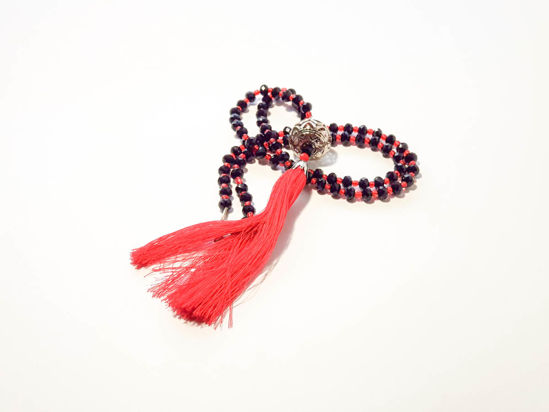 Εικόνα της Woman's Necklace with a combination of black and red  crystal beads, big metallic element and a big red tassel ending. Handmade