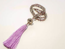 Εικόνα της Woman's Necklace with grey crystal beads, big metallic element and a big lila tassel ending. Handmade