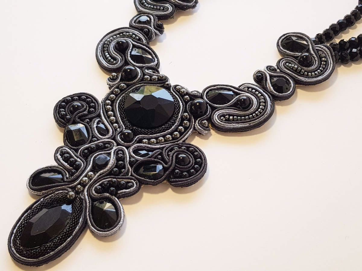 Picture of Woman's Soutache Necklace with various size crystal beads. Handmade Black