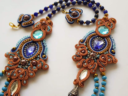 Εικόνα της Woman's Soutache Necklace with various size crystal beads. Handmade Various Colors