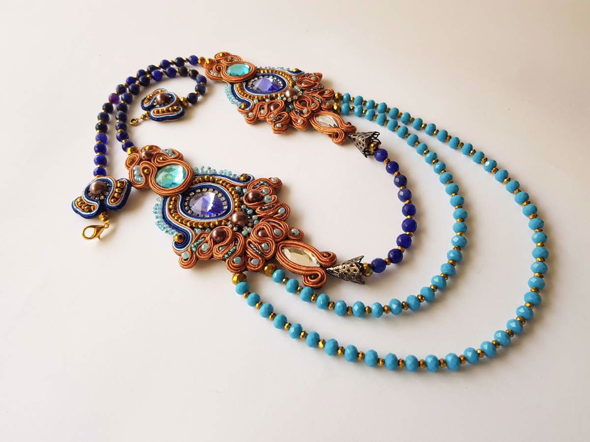 Picture of Woman's Soutache Necklace with various size crystal beads. Handmade Various Colors