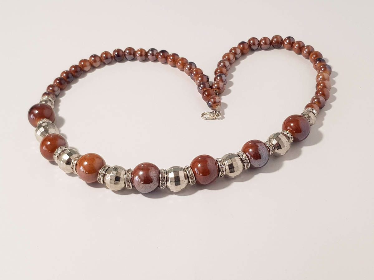 Εικόνα της Woman's Necklace with ceramic beads, metallic colored plastic beads. Handmade  Various Colors