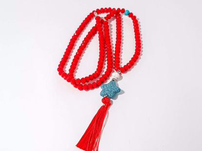 Εικόνα της Woman's Necklace with a combination  of red crystal beards, a white chaolite bead, a green lava stone pendant and a big red tassel  ending. Handmade