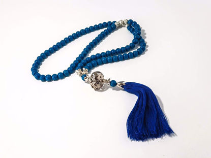 Εικόνα της Woman's Necklace with blue onyx beads, silver lava stones a metal element and big blue tassel ending. Handmade