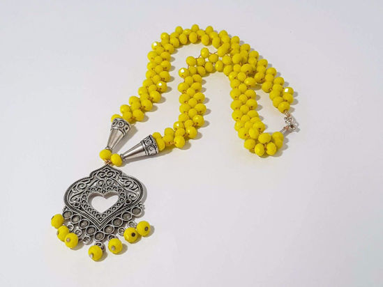 Εικόνα της Woman's Necklace with crystal beads and metallic Pendant. Handmade. Yellow