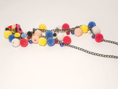 Picture of Woman's Necklace with a combination of various color pon pons and beads  Handmade.