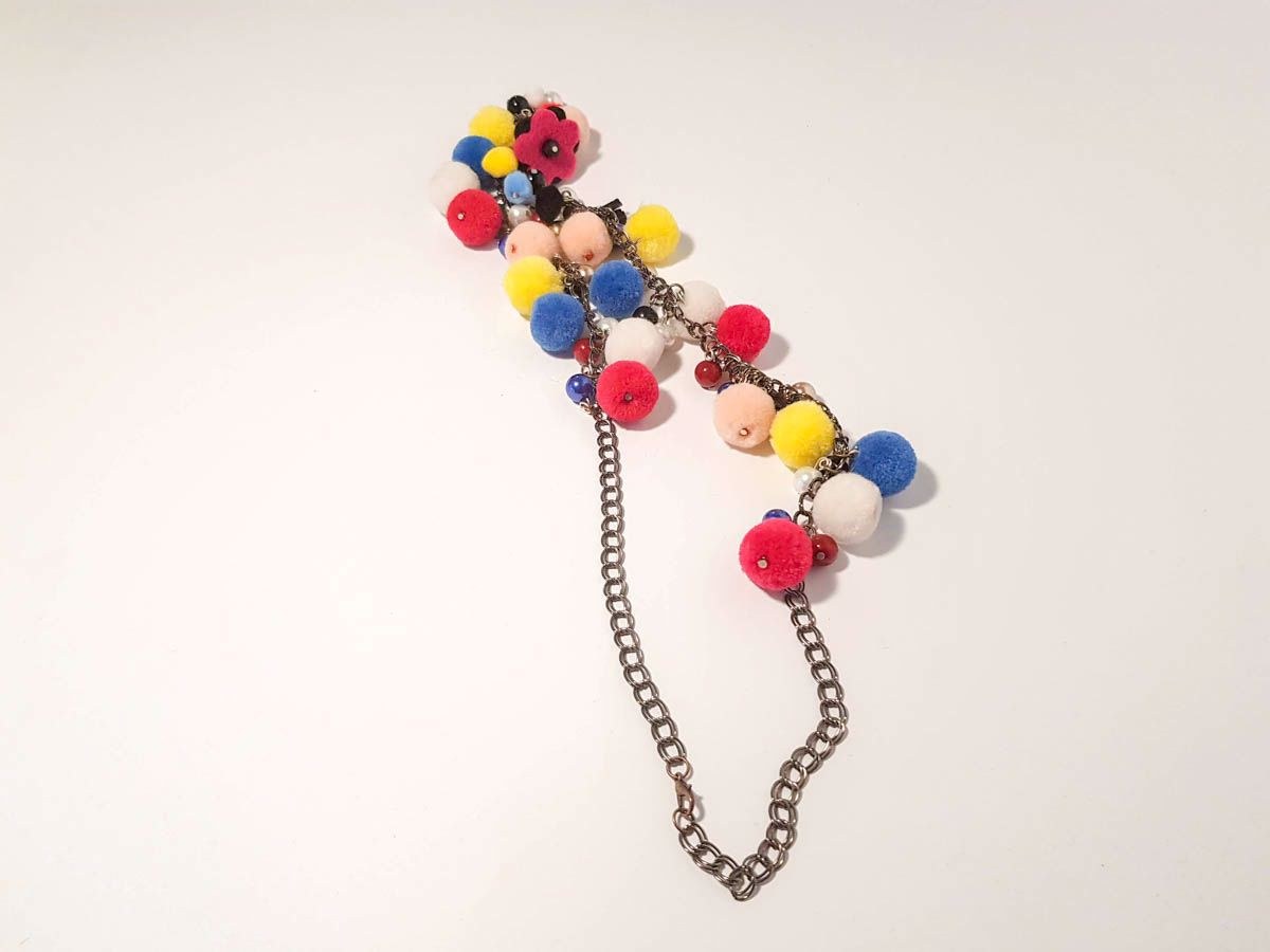 Εικόνα της Woman's Necklace with a combination of various color pon pons and beads  Handmade.